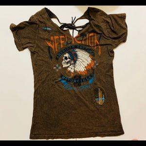 Affliction T-shirt Brown Lace Back